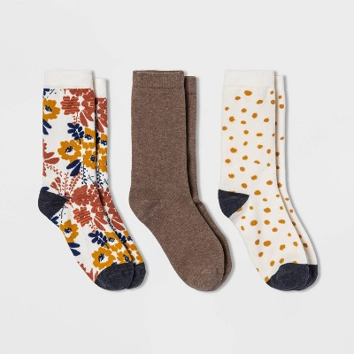 Women's Floral 3pk Crew Socks - A New Day™ Ivory/Heather Brown 4-10