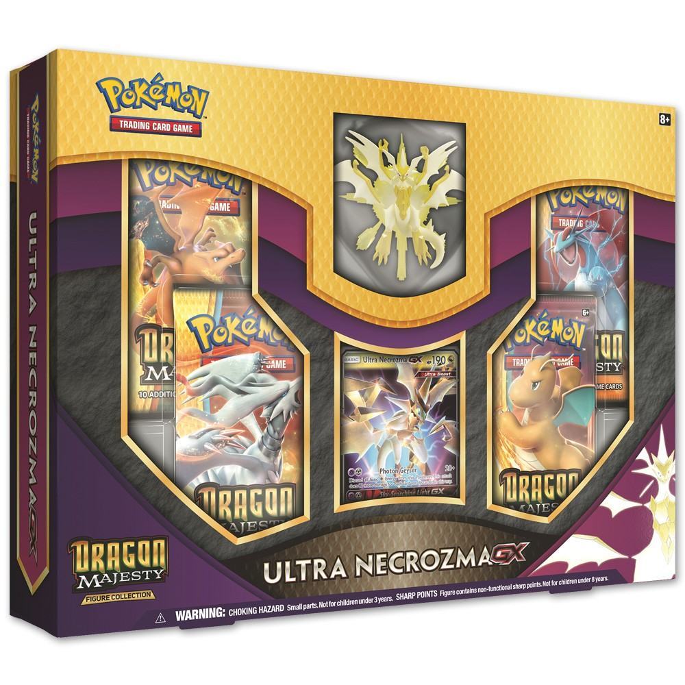 Pokemon Trading Card Game Ultra Necrozma GX Figure Box True Light of the Prism Pokemon! After absorbing a Legendary Pokemon, Ultra Necrozma-GX has emerged as a mysterious Pokemon with strong psychi powers! Now this amazing Legendary Pokemon is ready to join your team, both as playable Pokemon-GX and as a detailed sculpted figure! This Pokemon adds a touch of danger and the unknown to your collection! Gender: unisex.