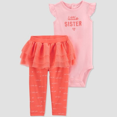 Baby Girls' 2pc 'Little Sister' Tutu Top and Bottom Set - Just One You® made by carter's Pink 3M
