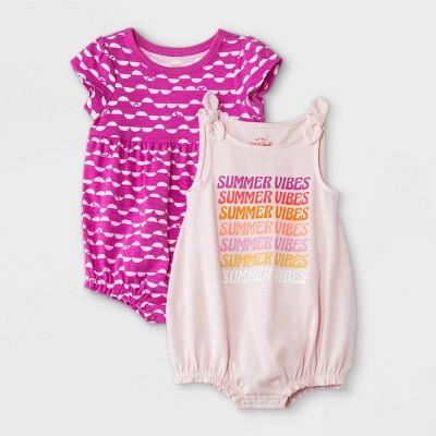 Baby Girls' 2pk Summer Vibes Romper - Cat & Jack™ Pink