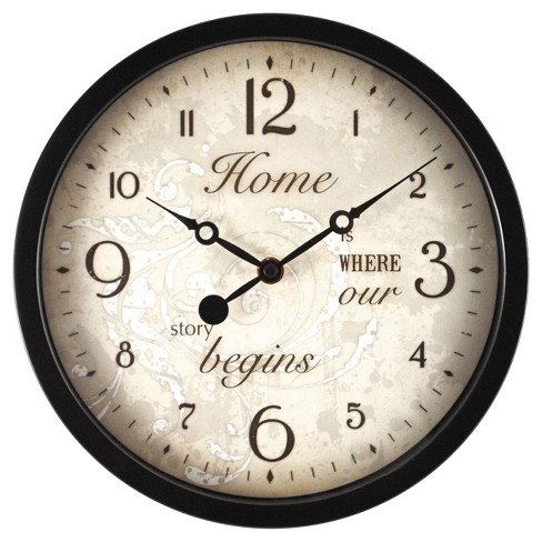 "Sentiments 10"" Round Wall Clock Brown/Gold - FirsTime® - image 1 of 2"