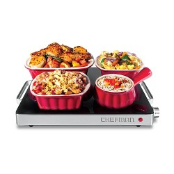 Chefman Compact Glass Top Warming Tray with Temperature Control