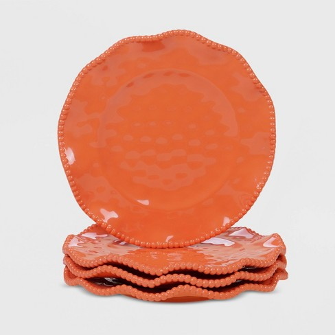 "9"" 4pk Melamine Perlette Salad Plates Coral - Certified International - image 1 of 2"