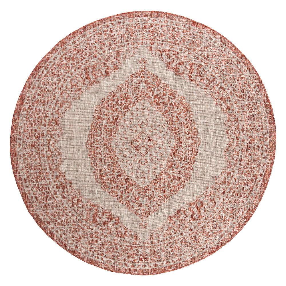 Abel Indoor/Outdoor Rug - Light Beige/Terracotta - 6'7 Round - Safavieh