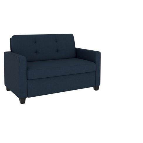 Alice Sleeper Sofa With Memory Foam Mattress Twin Blue Linen