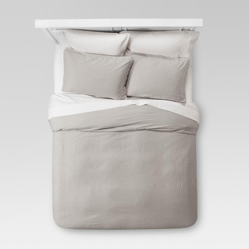 Best Gray Washed Linen Duvet Cover Set King Threshold