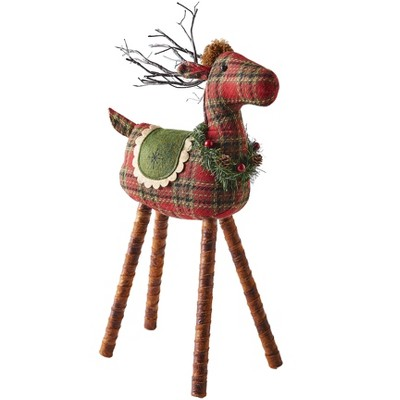 Lakeside Red and Green Reindeer Tabletop Decoration with Light Up LED Antlers