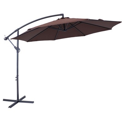 Steel Offset Cantilever Patio Umbrella 10' - Brown - Sunnydaze Decor