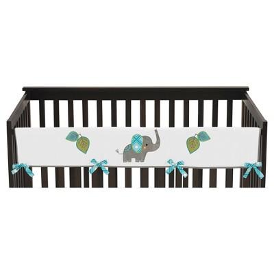Sweet Jojo Designs Long Crib Rail Guard Cover - Mod Elephant