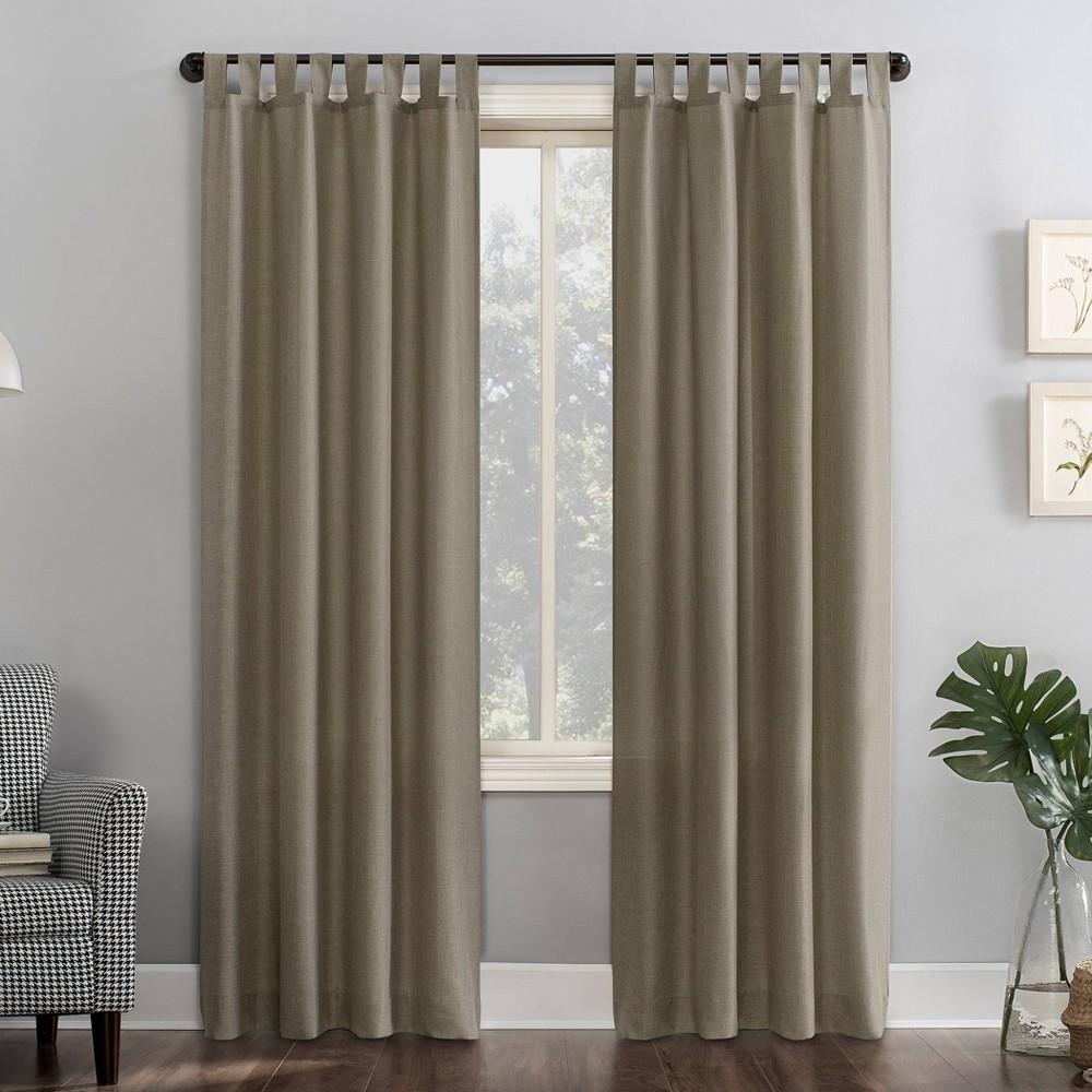 "Image of ""40""""x63"""" Joshua Heathered Texture Tab Top Semi-Sheer Curtain Panel Light Brown - No. 918, Size: 40""""x63"""""""