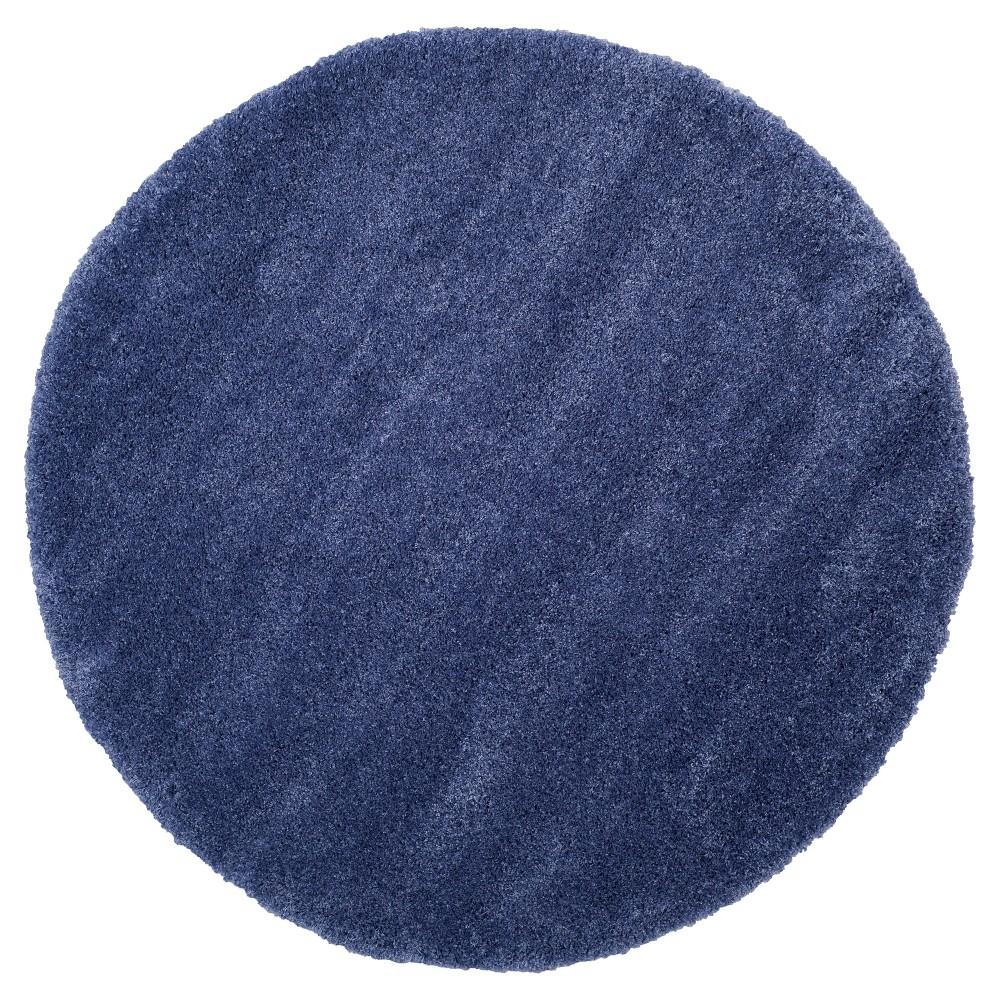 Periwinkle Solid Shag/Flokati Loomed Round Area Rug - (6'7) - Safavieh