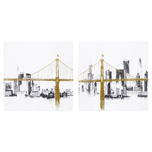 Bridge and Skyline Metallic Foil Canvas 2pc Set - image 1 of 4