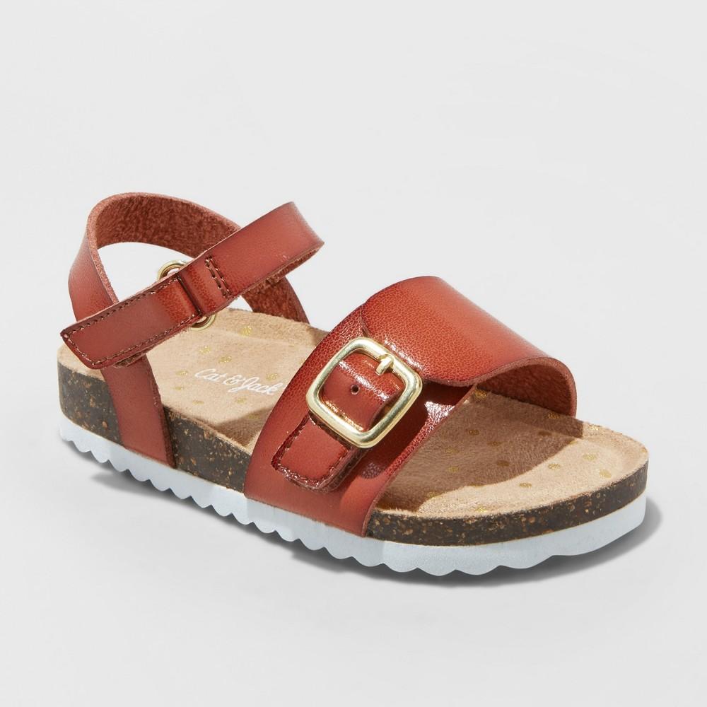 Toddler Girls' Berdie Comfort Footbed Sandals - Cat & Jack Cognac (Red) 6