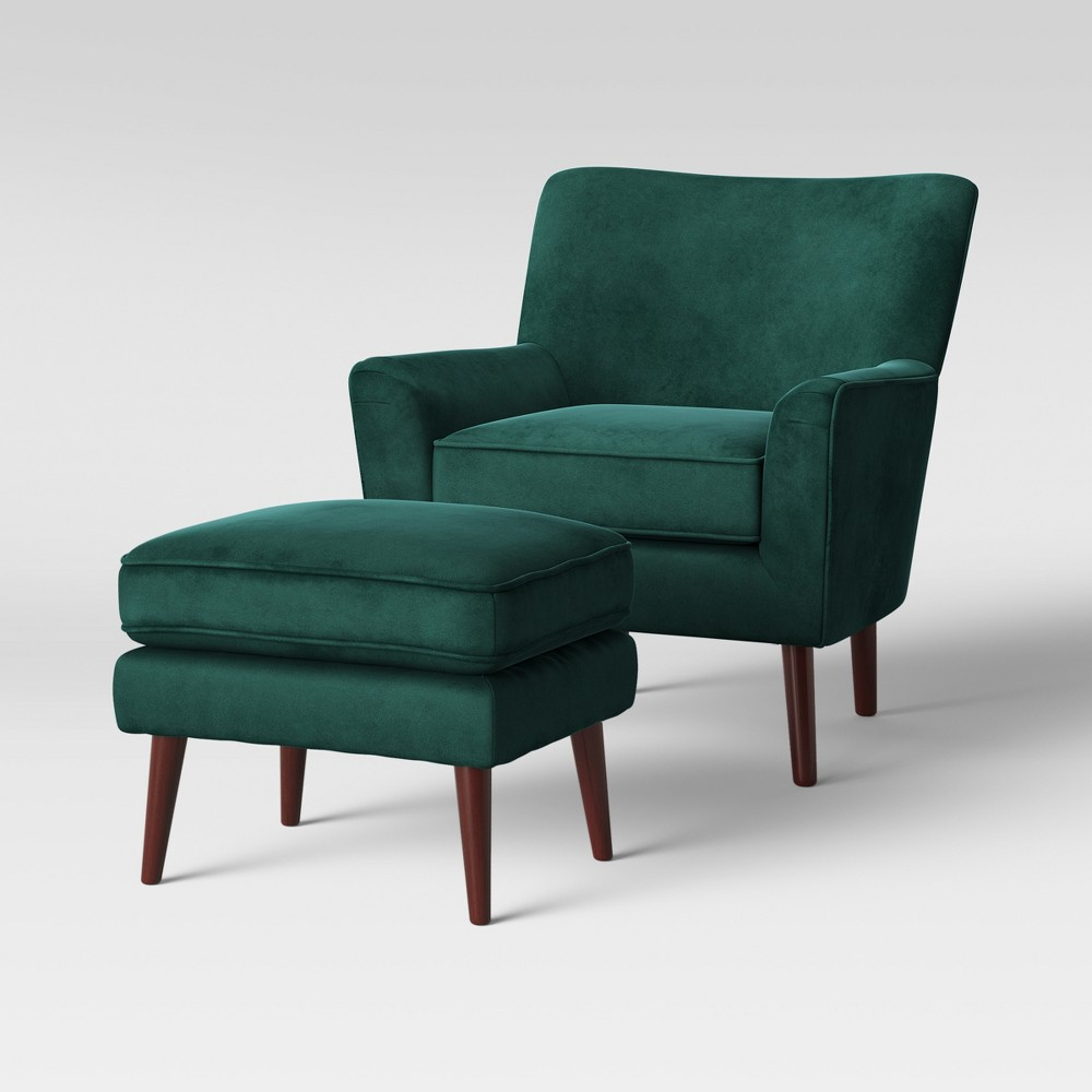 2pc Englund Chair and Ottoman Dark Green Velvet - Project 62
