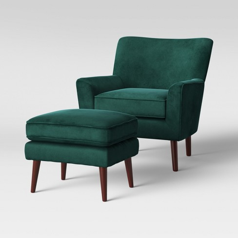2pc Englund Chair and Ottoman Dark Green Velvet - Project 62™