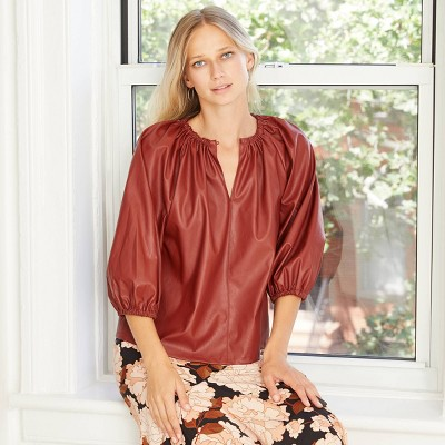 Women's Faux Leather Balloon 3/4 Sleeve Blouse - Who What Wear™