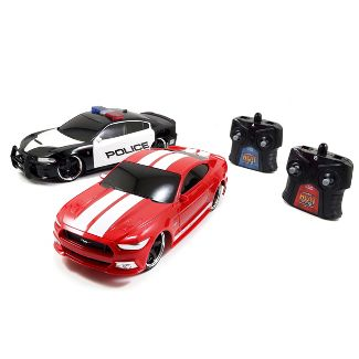 Jada Toys Heat Chase RC 2017 Ford GT & 2015 Dodge Charger SRT Hellcat Remote Control Vehicles 1:16 Scale Blue & Black with White