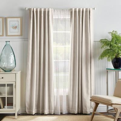 "Set of 2 (84""x50"")Bedford Woven Plaid Blackout Curtain Panels White - Martha Stewart"