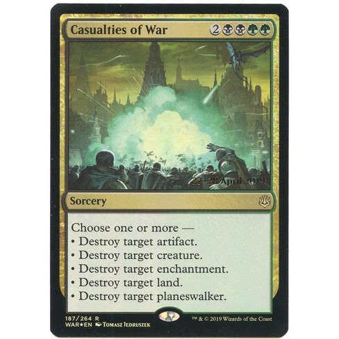 MtG War of the Spark Rare Casualties of War #187 [Prerelease Foil] - image 1 of 1