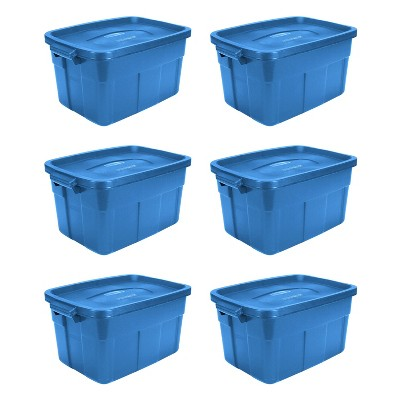 Rubbermaid Roughneck Tote 14 Gallon Stackable Storage Container w/ Stay Tight Lid & Easy Carry Handles, Heritage Blue (6 Pack)
