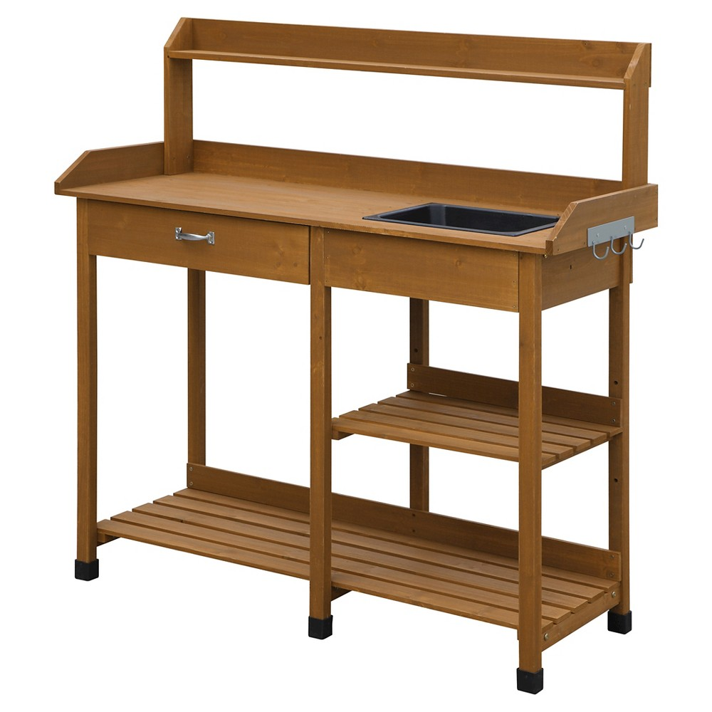 Deluxe Potting Bench - Brown - Convenience