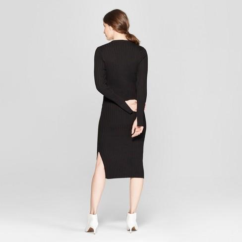d3382ad4e27 Women s Long Sleeve Ribbed Midi Sweater Dress - Prologue™ Black   Target