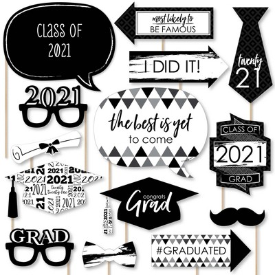 Big Dot of Happiness Black and White Grad - Best is Yet to Come - Black and White 2021 Graduation Party Photo Booth Props Kit - 20 Count