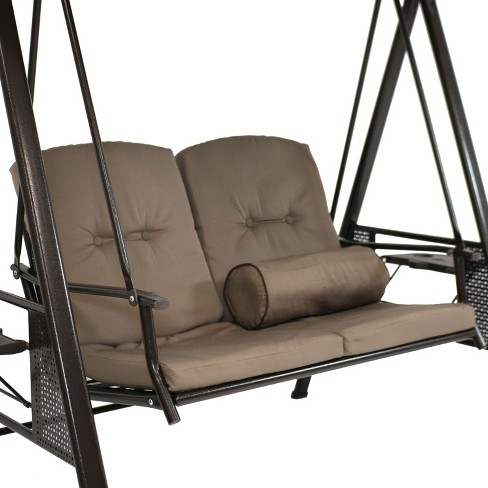 2 Person Steel Frame Porch Swing With Adjule Canopy And Pillows Beige Sunnydaze Decor Target