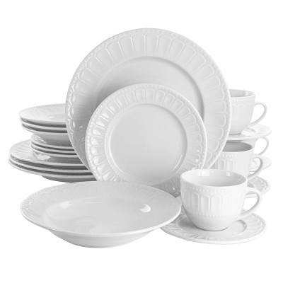 20pc Porcelain Charlotte Dinnerware Set White - Elama