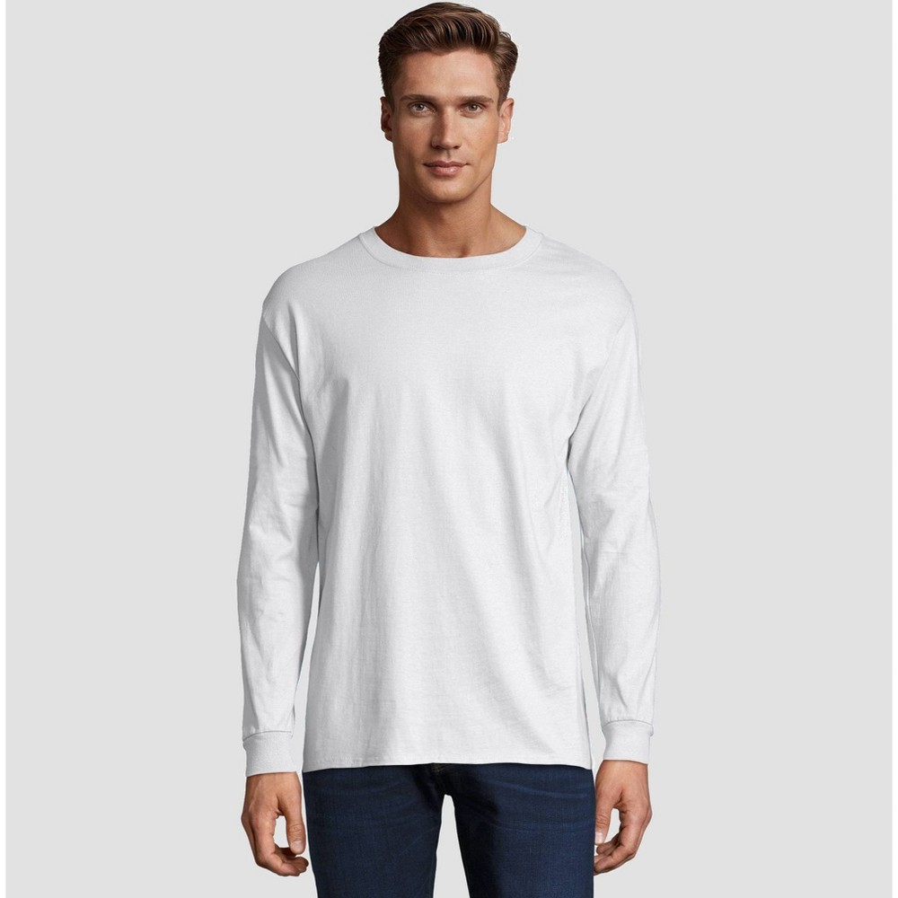 700e605d Hanes Mens Long Sleeve Beefy T Shirt White XL