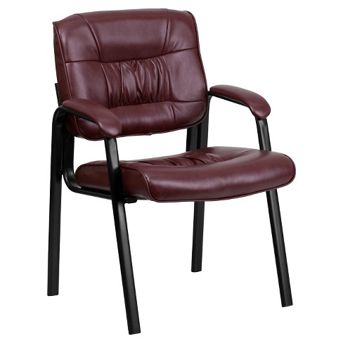 Executive Side Chair with Black Frame Finish/Burgundy Leather - Flash Furniture - image 1 of 4