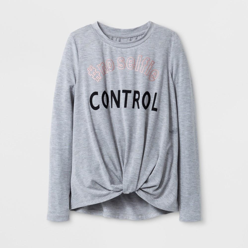 Girls' No Selfie Control Twist Front Long Sleeve T-Shirt - art class Heather Gray XS