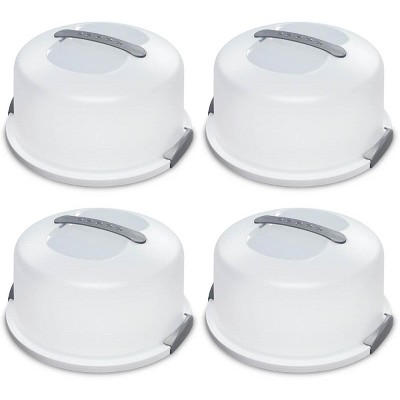 4 Pack Sterilite 02008004 Portable Latching Cake Server Carrier Keeper w/Handle