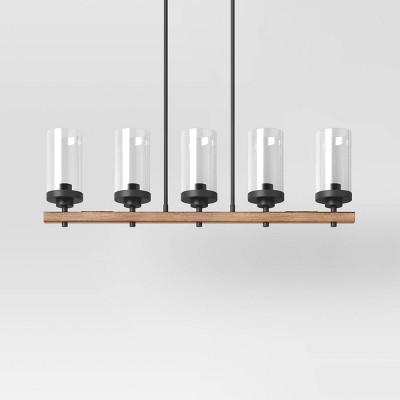 Wood Linear Ceiling Chandelier Black - Threshold™