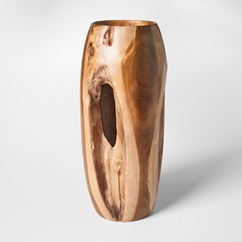 Teak Wood Vase Tall Brown Threshold Target