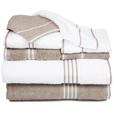 8pc Striped Towels Set White/Taupe - Yorkshire Home