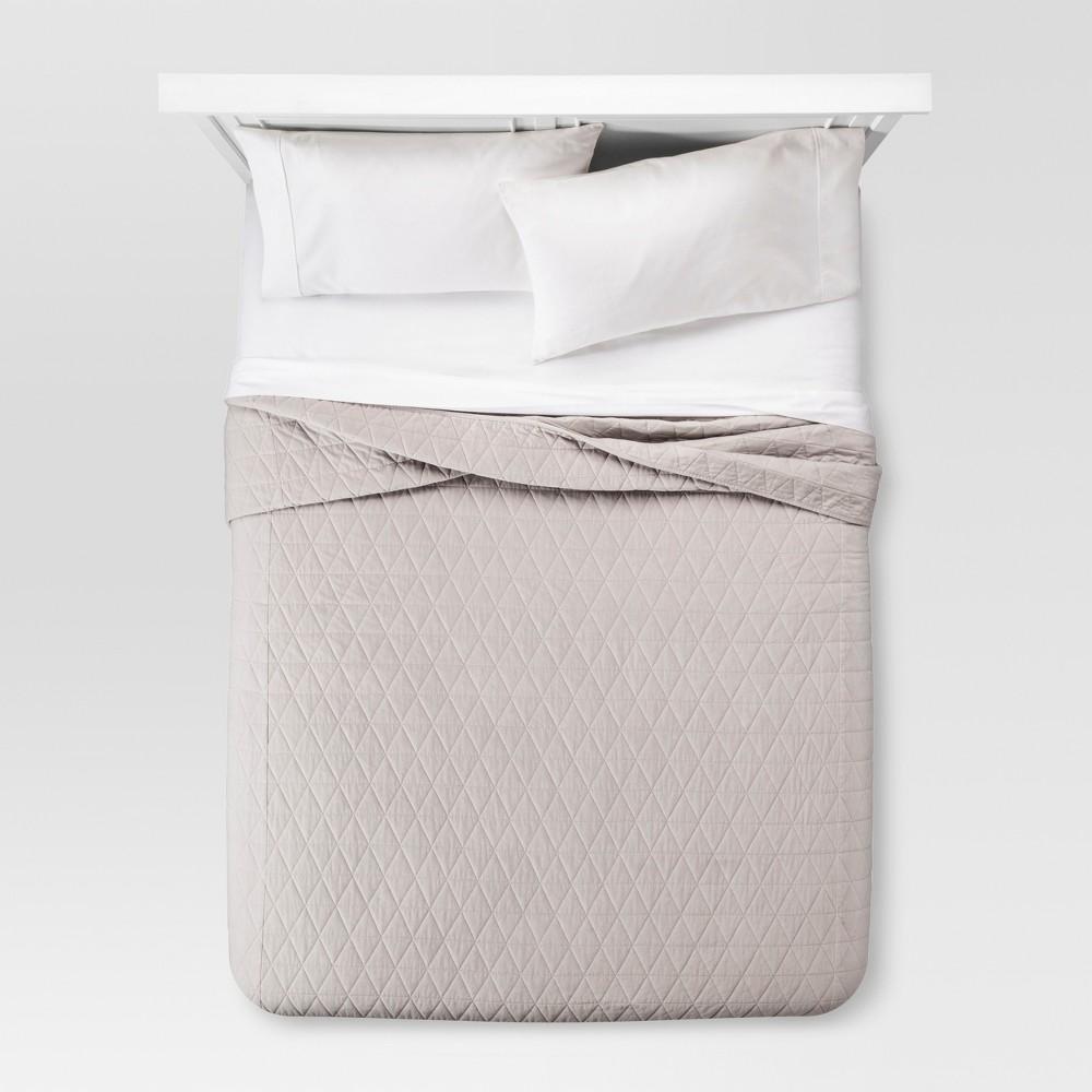Gray Vintage Wash Velvet Quilt (Full/Queen) - Threshold