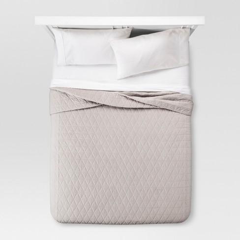Gray Vintage Wash Velvet Quilt King Threshold Target