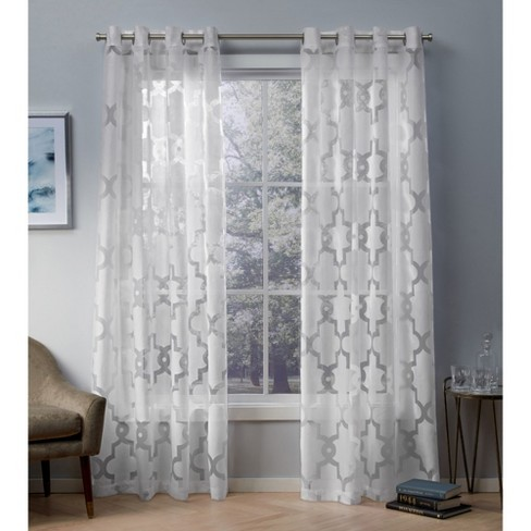 Exclusive Home Essex Geometric Sheer Burnout Grommet Top Window Curtain Panel Pair - image 1 of 6