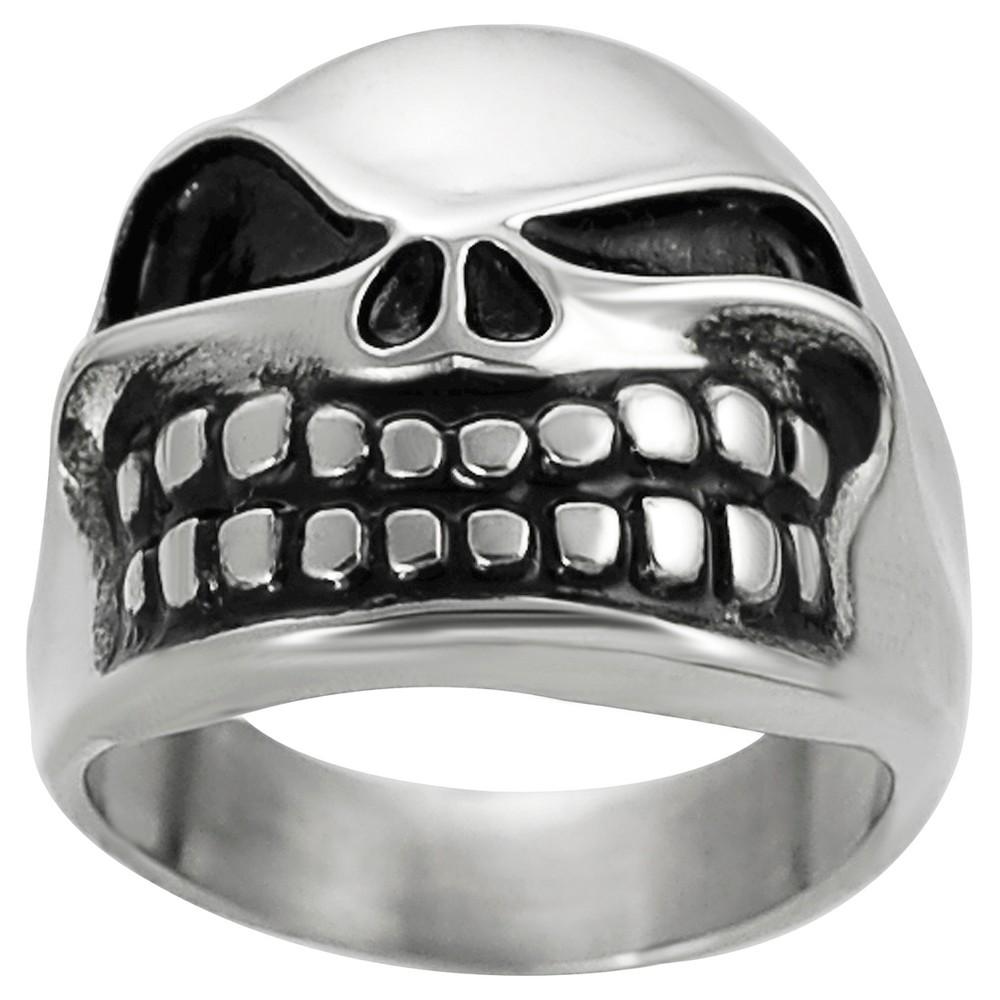 Men's Vance Co. Stainless Steel Jack the Pumpkin King Skull Ring - Silver, 11