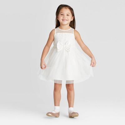 Zenzi Toddler Girls' Lace Flower Girl with Bow Dress - Off-White
