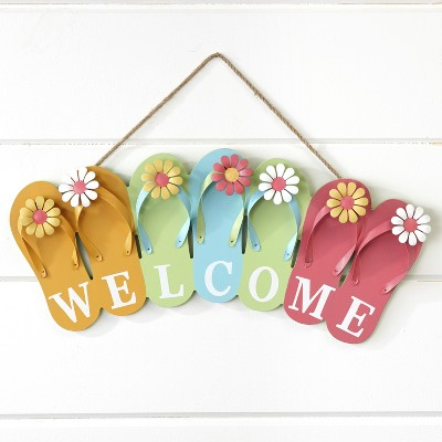 Lakeside Wooden Flip Flop Welcome Sign - Nautical Beach House Porch Accent
