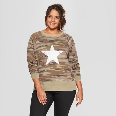 58100ca09377d Women s Plus Size Star Camouflage Print Graphic Sweatshirt - Grayson  Threads (Juniors ) Green