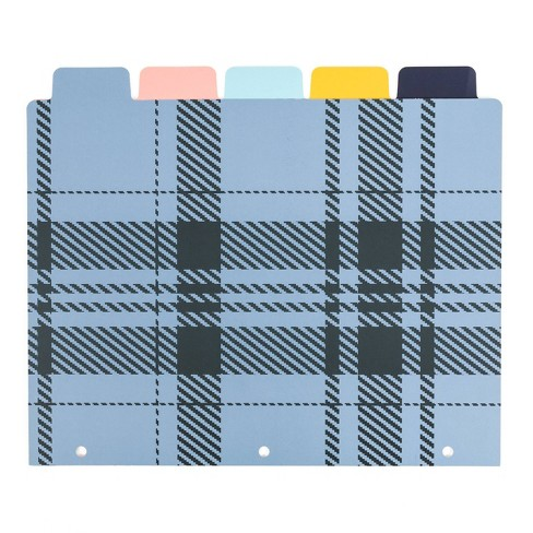 5ct Plaid File Sorter and Holders- Blue - UBrands - image 1 of 3