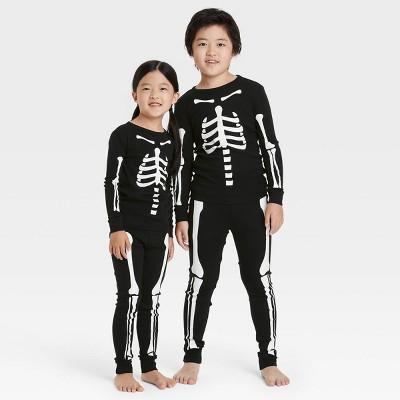 Kids' Halloween Skeleton Matching Family Pajama Set - Black