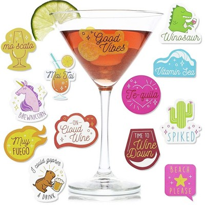 Paper Junkie 47-Count Wine Glass Drink Markers, Static Clings Reusable Sticker Label for Wine Tasting Party & Gifts, Alternative to Wine Charms
