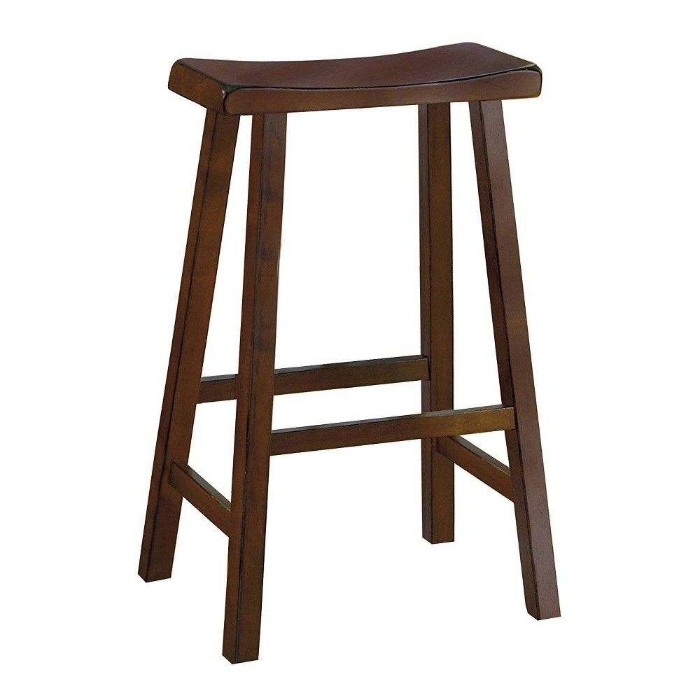 "Image of ""29"""" Set of 2 Wooden Counter Height Stool with Saddle Seat Brown - Benzara"""