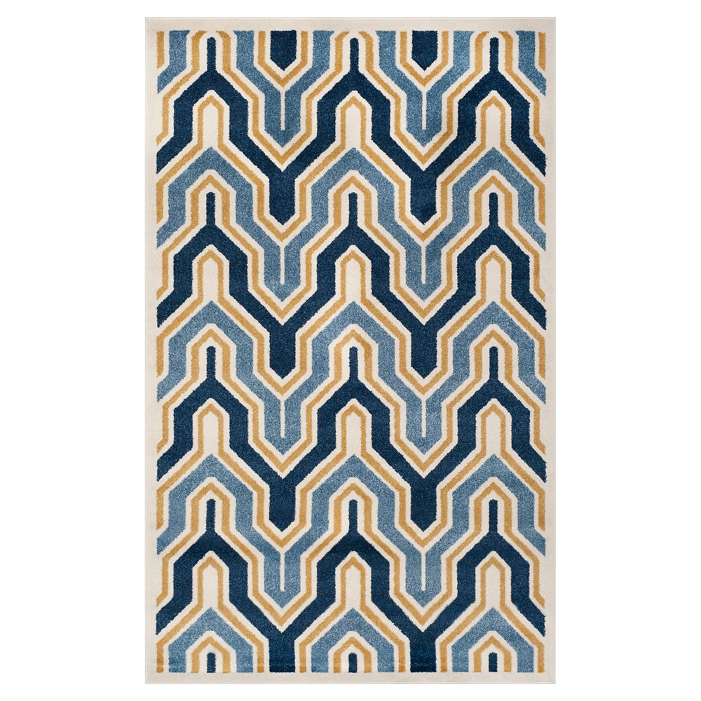 Ivory/Gold Abstract Loomed Area Rug - (6'x9') - Safavieh, White