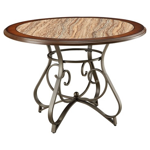 Barrie Dining Table - Faux Marble, Cherry Oak and Dark Bronze - Acme - image 1 of 2
