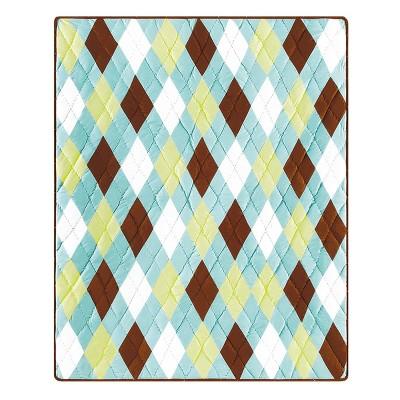 "C&F Home Argyle Aqua Cotton Quilted 50"" x 60"" Throw Blanket"